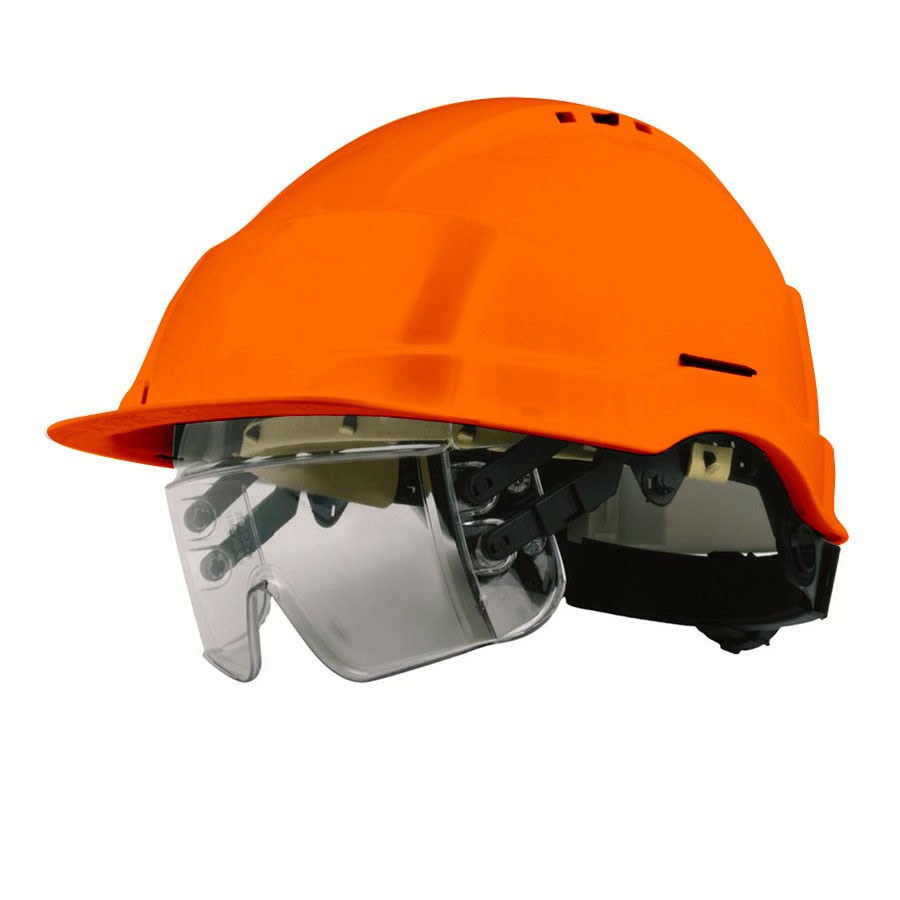 casque de chantier iris orange avec lunettes de protection. Black Bedroom Furniture Sets. Home Design Ideas