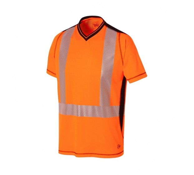 T-SHIRT HAUTE VISIBILITÉ MC LUK LIGHT ORANGE FLUO/MARINE
